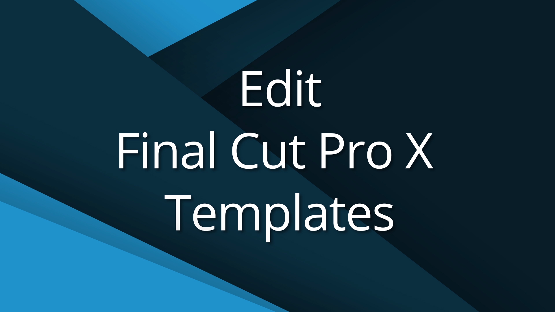 3 Edit Final Cut Templates Video Tutorial